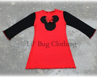 Custom Boutique Knit Minnie Mouse Red Dress  Black Sleeves 3m 6m 9m 12 18 24 2t 3t 4t 5t 6 7 8 9 10  girl