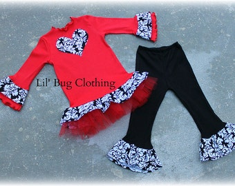 Custom Boutique Valentines Day Outfit Black White Damask Red Tulle Tee And Leggings Girl