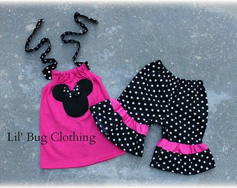 Minnie Mouse Outfit, Minnie Mouse Short And Halter Top, Hot Pink Black Polka Dot Minnie Mouse, Custom Boutique Clothing