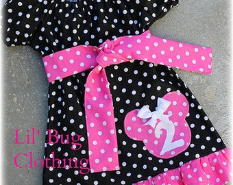 Minnie Mouse Girls Peasant Dress, Black Pink Minnie Mouse Personalized Dress, Minnie Mouse Boutique Girl Clothes