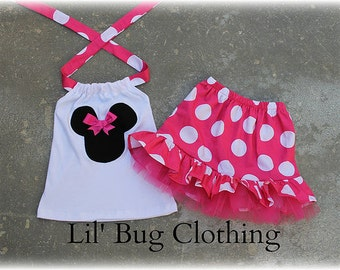 Custom Boutique Clothing  Hot Pink White Jumbo Dot Minnie Mouse Tulle Skirt Halter