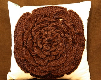 Bombshell Belle - Blooming - Crocheted Chocolate Brown Flower Pillow - Striped chenille fabric