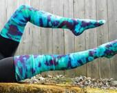 New RASPBERRY ICE Tiedyed Thigh HIgh Cotton Leg Warmer Socks