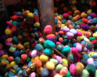 SHIP NOW 80 Colorful Dragon Scale Variety Collection Wholesale - Merino Wool Wet Felted Beads with silk infusion
