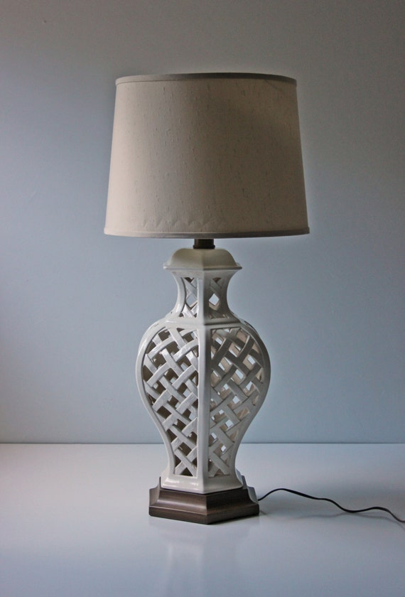 reserved white porcelain table lamp large white pierced. Black Bedroom Furniture Sets. Home Design Ideas