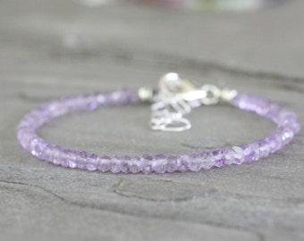 SALE: Lilac Amethyst Gemstone Bracelet. Sterling Silver February Birthstone. Summer Beach Jewelry. Simple Minimalist Fashion
