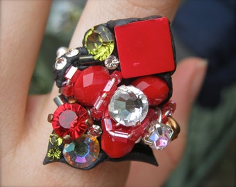 SALE Was 72 now 52 RUBY ROYAL Hand wired and moulded one-off ring using Swarovski crystals and glass