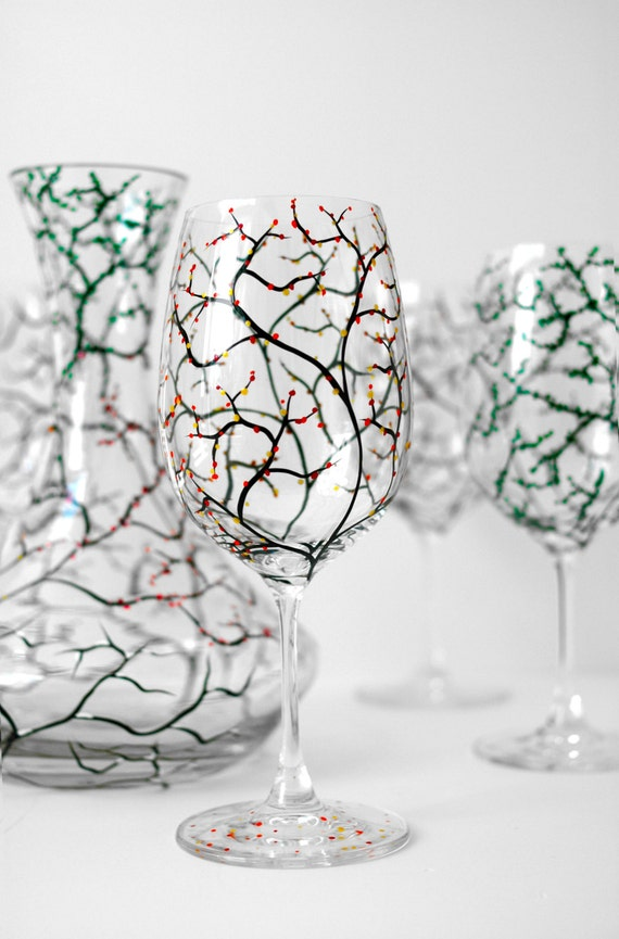 The Four Seasons 5-Piece Decanter and Stemware Collection -  Winter, Spring, Summer and Fall Hand Painted Glasses