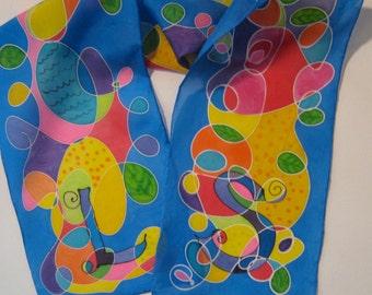Personalized Rainbow Scribble Silk Scarf Multicolor