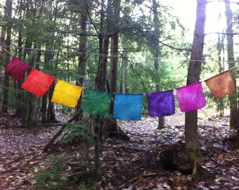 Rainbow Prayer Flags - Silk and Hemp