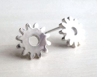 Gear Earrings - Tiny - Sterling Silver - Studs - Industrial Chic - Minimalist - Steampunk - Gear Studs - Gifts Under 35 - Made In Brooklyn