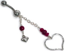 Ruby Heart Belly Ring. Faceted Ruby and Sterling Silver Textured Heart, Beaded Dangle Belly Ring. Heart Navel Ring. July Birthstone Jewelry.