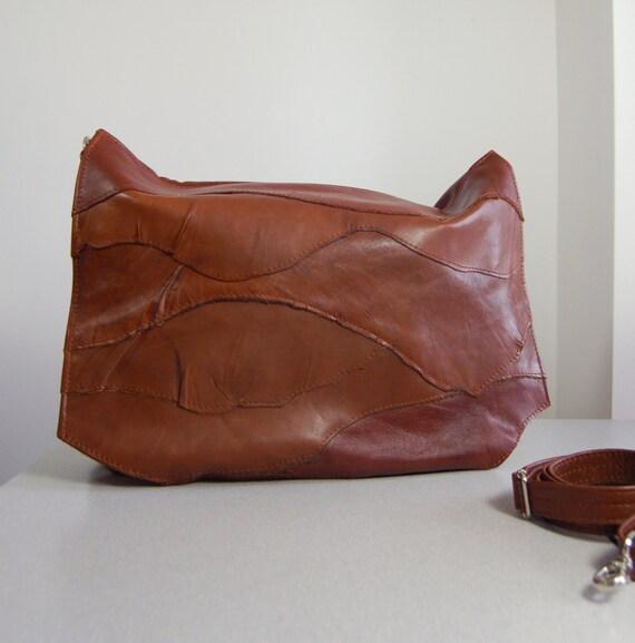 Esme,  handmade antiqued tan brown leather shoulder, clutch bag.