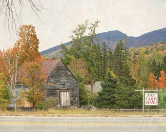 Old Farm House Photo Fall Colors NH Rustic country textured wall art Brown Orange Green Blue  Decor Landscape Art Print 5x7, 8x10, Matted