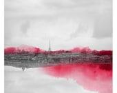 Paris en Rose (Landscape Photography - Fine Art Print - Paris - Eiffel Tower - Montmartre -  Watercolor paints - Black and white - Pink)