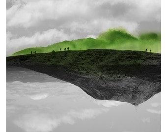 Volcans (Landscape Photography - Fine Art Print - Mountain - Landscape - WaterColor paints - Black and white - Green)