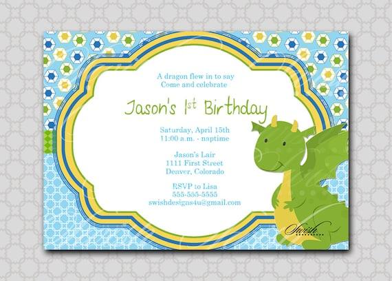 Dragon Birthday Invitation Digital Printable Birthday 5x7 Invite
