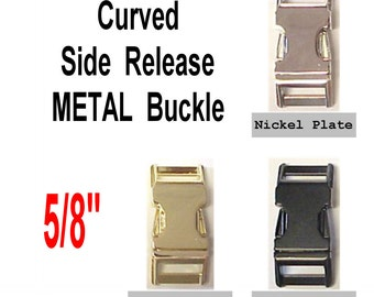 """4 BUCKLES - 5/8"""" - METAL, Curved Side Release, Strap Collar, 5/8 inch, non Adjustable, Nickel or Brass Plate or Black"""