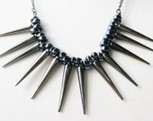 black spike necklace - gunmetal spike necklace - fringe necklace - statement - necklace - dagger - chunky necklace -