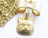 cat necklace - gold necklace - charm necklace -  cat face necklace - bow necklace - cat pendant -kitty necklace