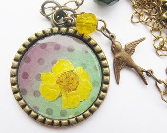butercup flower necklace - bird necklace - yellow flower - polka dot necklace - real flower necklace - pressed flower - statement necklace
