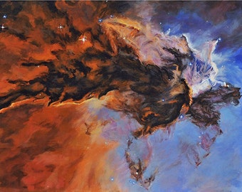 The Eagle Nebula, An Original Space Landscape, 16 by 20 inches