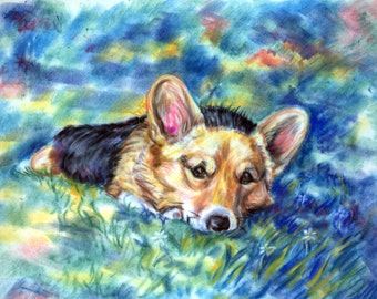 Pembroke Welsh Corgi Gorgeous Giclee Fine Art Print of Pastel Painting