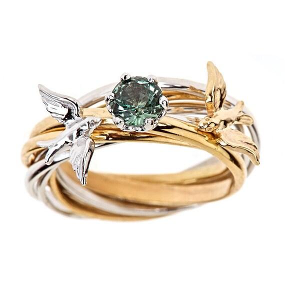 custom 7 band engagement nest ring solid 14k yellow white