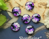 12mm Glass Cabochon, 8mm 10mm 14mm 16mm 20mm 25mm 30mm Round Floral Image Cabochon - BCH207E