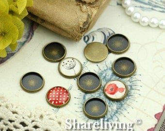 20pcs Antique Bronze 12mm Round Cameo Base Setting BS458