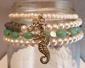 MOVING SALE  OOAK Memory Wire Bracelet Sea Horse, Ivory,  Pale PInk, Jade and Grey