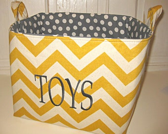 "Fabric Storage Bin-- 12""X10""X10""--- Embroidered with TOYS--- Or customize your own"