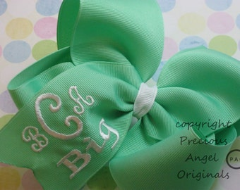 "Monogrammed Boutique Hair Bow Extra Large  5"" or 6""  2 lines or extra large font on one line.  See link in listing for ribbon choices"