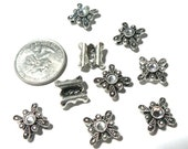 Swarovski Sliders 2 Hole Crystal Beads Antiqued Silver Plated Designer Components 9 pcs Clear