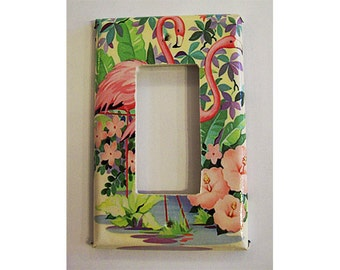 retro flamingo rocker switch plate vintage 1950's rockabilly pink flamingo Florida kitsch