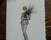 "1982  fashion illustration Christian Dior ""Pin stripe Pantsuit ""note card"