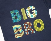 BIG BRO Big Brother Shirt in Aqua Brown Green - Custom Shirt Color in Navy Brown or White - Sizes 0-3m 3-6m 6-12m, 12-18m, 2, 4, 6