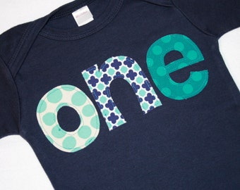 Boys ONE Shirt for First Birthday - 12-18 month long sleeve navy blue shirt with aqua and white lettering