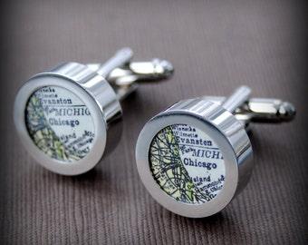 Chicago Map Cuff Links - Custom Map Cufflink Set - Great Wedding Groomsmen Gift - Men's Accessories