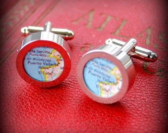 Puerto Vallarta Vintage Map Cuff Links - Great Gift