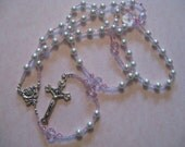 White Pearl and Pink Swarvoski Crystal Rosary