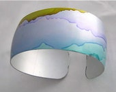 Handpainted cuff bracelet - blue and purple - lightweight and flexible - handmade