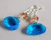 Aqua Jewel Earrings - Aqua Glass Briolette Earrings - Sterling and Crystal Earrings - Happy Shack Designs