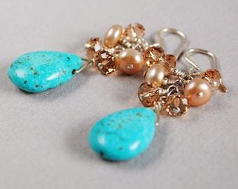 Turquoise Sunrise Gemstone Earrings - Turquoise Briolette Earrings - Pearls - Sterling and Crystal Earrings - Happy Shack Designs