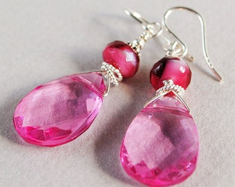 Susie Pink Crystal and Sterling Earrings - Pink Glass Briolette Earrings - Pink Earrings - Happy Shack Designs