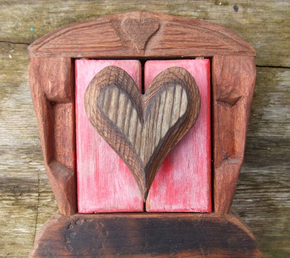 Hand Carved Heart Frame Display for Wedding Photo or Beloved Pet Memorial - Valentines Day, Wedding Folk Art OOAK Wood Home Decor