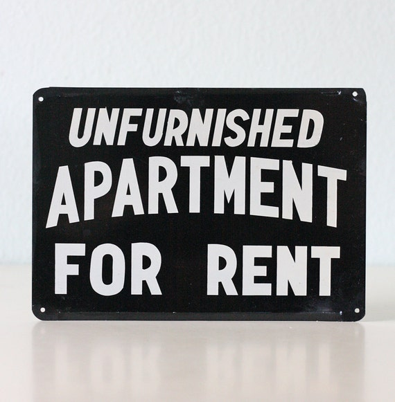 Apartment For Rent Sign: Vintage Sign Unfurnished Apartment For Rent