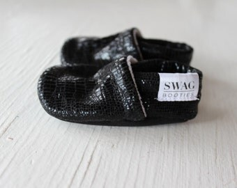 Baby Booties baby shoes crib shoes soft soled shoes non slip SWAG Faux Crocodile Black Leather shower gift newborn infant gender neutral