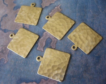 4 PC Hammered Brass rectangle charm - 13 x 15 mm - UU09