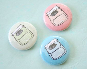 Retro Typewriter One Inch Button Choose Color(s)